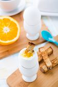 Breakfast with soft boiled eggs