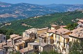 Panoramic view of Guardia Perticara. Basilicata. Italy.