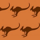 Seamless pattern with a kangaroo