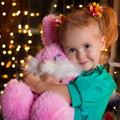 Christmas  Girl With Pink Soft Toy