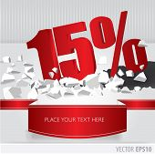 Red 15 Percent Discount On Vector Cracked Ground On White Background