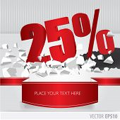 Red 25  Percent Discount On Vector Cracked Ground On White Background