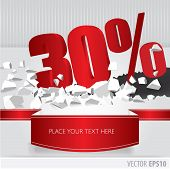 Red 30  Percent Discount On Vector Cracked Ground On White Background