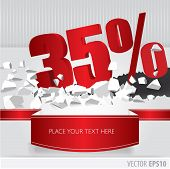 Red 35 Percent Discount On Vector Cracked Ground On White Background