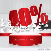Red 40 Percent Discount On Vector Cracked Ground On White Background