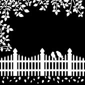 pic of bird fence  - Romantic black and white background with a couple of birds sitting on a fence - JPG