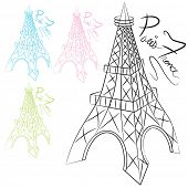 An image of a set of sketches of the Eiffel Tower.