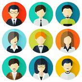 picture of avatar  - Set of nine young male and female business avatars - JPG