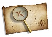 old magnifying glass and pirates' treasure map isolated