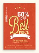Best price in limited time sale flyer, banner or template with discount offer.