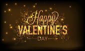 Golden elegant text Happy Valentines Day on shiny brown background.