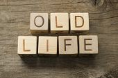 Old Life text on a wooden cubes