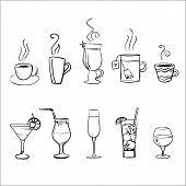 Set of vector sketchy drinks
