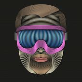 Creative Retro Artwork of symbol skier or snowboarder with goggles.