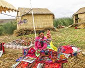 Local Women In Traditional Attire Work Sell Handicrafts