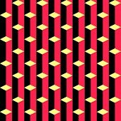 Seamless Vertical Stripe and Rhombus Pattern. Vector Black and Red Background