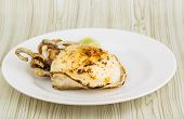 picture of cuttlefish  - Grilled cuttlefish with lime on the wooden background - JPG