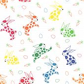 Seamless Pattern With Ornamental Rabbits