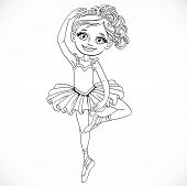 Ballerina Girl In Tutu And Tiara Dancing On One Leg Outlined Isolated On A White Background