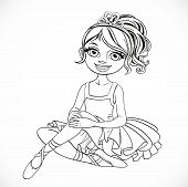 Beautiful Ballerina Girl Intutu And Tiara Sit On Floor Outlined Isolated On A White Background