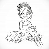 Beautiful Little Ballerina Girl In Dress Sit On Floor Outlined Isolated On A White Background