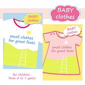 Shop childrens clothing  for boys and girls. Logo and banner for baby clothes. Posters advertising c
