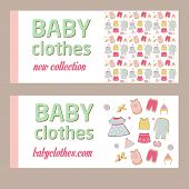 Shop childrens clothing  for boys and girls. Visual communication.Banner for baby clothes. New colle