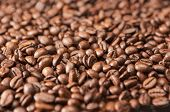 Closeup Background Made Of Heap Of Roasted Coffee Beans