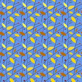 Seamless autumnal pattern. Leaves, twigs, berries, sky. Edited