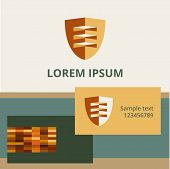 Editable template logo and brand elements. shield surround.