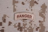 Us Army Ranger Tab On Camouflage Uniform