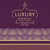 Logo for shops, boutiques. Logo on a purple background with gold pattern. Luxury and elegance