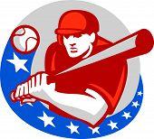 Baseball Player Batter Stars Circle Retro