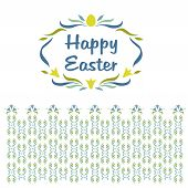 Logo, vignette with the words Happy Easter. Floral pattern shades of blue and yellow