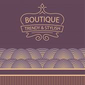 Vector logo for boutique clothing, accessories, jewelry and ornaments. Trendy and stylish. Vintage.