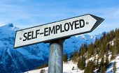 Self-Employed sign with winter background