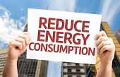 pic of reduce  - Reduce Energy Consumption card with a urban background - JPG