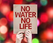 No Water No Life card with colorful background with defocused lights