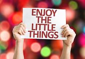 Enjoy the Little Things card with colorful background with defocused lights