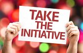 Take the Initiative card with colorful background with defocused lights