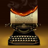 Od typewriter with a burning paper. Writing concept vector illustration