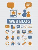 web blog, internet page, communication icons set, vector
