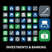 investments, banking, credit, money icons, signs, illustrations on background set, vector