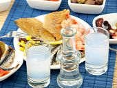pic of ouzo  - Misc seafood and greek alcohol drink ouzo