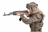 stock photo of kalashnikov  - US MARINES with kalashnikov assault rifle isolated on white - JPG