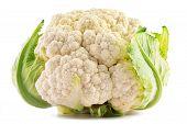 Fresh Organic Cauliflower Isolated On White