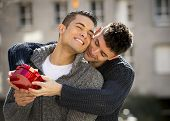 Young  Gay Men Couple With Rose And Box Present Celebrating Valentines Day In Love