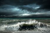 foto of storms  - View of storm seascape - JPG