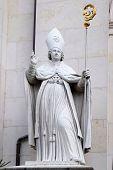 SALZBURG, AUSTRIA - DECEMBER 13, 2014: St. Vergilius statue at Salzburg Cathedral, Austria on December 13, 2014. Salzburg Cathedral is a baroque cathedral of the Roman Catholic Archdiocese of Salzburg