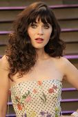 WEST HOLLYWOOD - MAR 2:: Zooey Deschanel at the 2014 Vanity Fair Oscar Party on March 2, 2014 in West Hollywood, California
